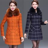 中老年女装冬装毛呢外套大码40-50中年妈妈装中长款格子羊绒大衣