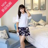 2016夏季新款韩版小清新短袖雪纺衫上衣印花蓬蓬半身裙两件套装女