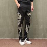 春季中式男装运动裤中国风龙纹刺绣大码宽松休闲裤胖子直筒长裤子