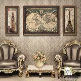 美式装饰画欧式复古挂画沙发背景客厅三联壁画高档办公室世界地图