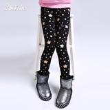 笛莎童装女童打底裤加绒加厚冬季新款星烫金印花保暖韩版儿童裤子