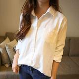 2016春装新款长袖衬衫加肥加大码女装韩版中长款宽松胖mm棉麻上衣