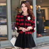 2015韩版女装冬季披肩短外套名媛小香风短款羊毛呢外套修身优雅