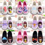 春季儿童帆布鞋女童鞋低帮单鞋布鞋公主鞋大小童鞋休闲板鞋手绘鞋