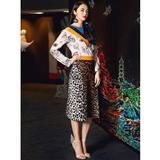 区别于市场货,素描猫咪印花双绉真丝衬衫+豹纹半裙 高定制套装!