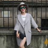 2016秋季新款潮流韩版时尚休闲修身九分袖中长款风衣薄款外套女装