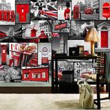 欧式复古怀旧大型壁画壁纸酒吧ktv咖啡厅墙纸欧洲英伦红色风景