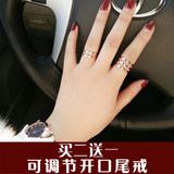 包邮日韩版潮人镀18k玫瑰金多层钛钢关节戒指女尾戒食指环饰品