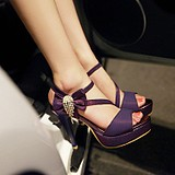 夏季欧美水钻细跟鱼嘴中跟凉鞋高跟宴会优雅性感百搭显瘦女鞋气质