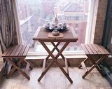 实木双人餐桌椅组合折叠咖啡厅户外茶桌茶几简易休闲快餐桌子椅子