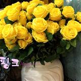 冠顺花艺高端仿真英国宫廷玫瑰花装饰黄色绢花精品精致