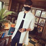 汉滨尼男士长袖衬衫秋季修身风衣中长款外套青少年韩版宽松衬衣潮