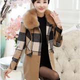 2015年中老年女装羊绒大衣秋冬装40-50妈妈装毛呢外套中长款上衣