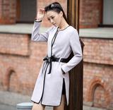 奕生缘2015春装新款韩版系带修身毛呢外套女款中长款呢子大衣冬装