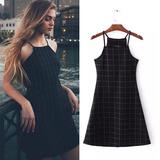 外贸原单 欧美范16夏装新款女式修身性感复古格子吊带连衣裙打底