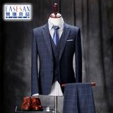 西服套装男士商务正装三件套修身新郎结婚礼服英伦格子西装男套装