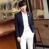 冬季新款韩版修身格子小西装男 青年加厚毛呢西服英伦休闲便西潮
