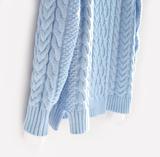 布桃子 秋冬新款女装 显瘦韩版 女 宽松 麻花加厚中长款套头毛衣
