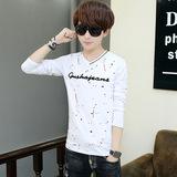 春季长袖T恤男青少年修身V领体恤男士韩版打底衫学生青春潮流上衣