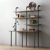 美式创意家具水管书桌书架组合 铁艺实木隔板置物架电脑桌写字台