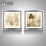 时黛 现代简约卧室挂画清新餐厅装饰画客厅背景墙画有框壁画花卉