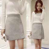 韩版新款冬裙毛呢半身裙秋冬包臀短裙a字包裙呢子百搭冬季高腰裙