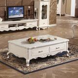 欧式茶几 简欧客厅大理石茶几电视柜组合 法式实木雕花小户型家具