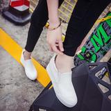 厚底布鞋休闲板鞋一脚蹬懒人鞋内增高白色帆布鞋女韩版学生小白鞋