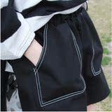 新款原宿风BF裤子高腰大码显瘦黑色裤复古毛边宽松牛仔短裤女夏