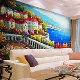 大型壁画 电视沙发背景墙 个性定制壁纸 地中海风景油画 墙纸