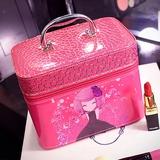 可爱化妆包韩国专业大容量化妆箱手提化妆品收纳包小号卡通洗漱包