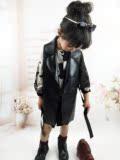 外贸韩国童装女童春装2016新款欧美潮范儿童西装领长款马甲PU外套