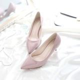 2016新款裸粉色漆皮细跟低跟高跟鞋女夏潮尖头中跟黑色职业工作鞋