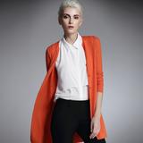 梅湾街2016春季新品女装 中长款长袖羊毛开衫女 镂空薄款修身外套