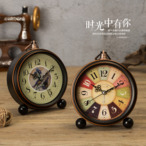 Retro simple creative alarm clock students with cute bedside clock bedroom clock pendant small alarm clock clock
