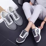 2016夏季新款真皮坡跟女鞋休闲运动鞋女韩版平底跑步鞋透气网潮鞋