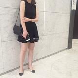 现货!韩国代购  必买  复古 俏皮  松紧腰  百褶 小黑裙 半身裙
