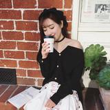 韩国性感露肩一字V领衬衫女长袖短款衬衣春秋百搭韩范修身打底 夏