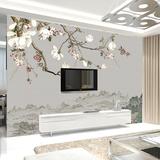 电视背景墙纸无缝大型壁画现代中式客厅3d无纺布壁纸手绘玉兰花鸟