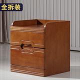 现代中式实木橡木卧室床头柜简约雕花储物边柜茶几组装迷你柜
