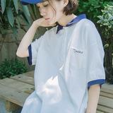 浮笙 夏季新款文艺范学院风polo领短袖T恤式连衣裙 中长款清新裙