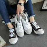 韩版系带小白鞋女学生平底黑白色帆布鞋女板鞋百搭休闲鞋平跟单鞋