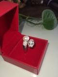 纯天然淡水珍珠s925纯银虎头戒指