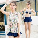 韩国泳衣女分体裙式三件套比基尼小胸聚拢钢托保守遮肚温泉女泳衣