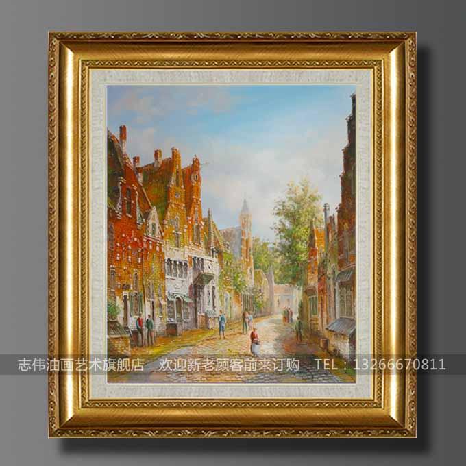手绘欧式油画客厅 卧室酒店装饰办公室竖幅风格建筑风景大幅挂画图片