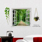 假窗墙贴卧室温馨浪漫床头墙贴画 创意家居客厅背景墙纸房间装饰