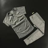 春夏健身健身房运动短袖T恤套装女跳操跑步服瑜伽上衣速干裤紧身
