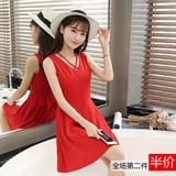 2016夏季新款韩版修身显瘦V领无袖红色连衣裙背心裙打底裙无袖裙