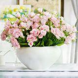 包邮欧式田园简约现代白色陶瓷花瓶仿真小玫瑰花艺套装假花盆栽
