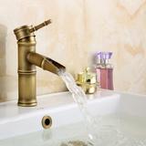 女皇世家 仿古龙头 欧式全铜仿古水龙头浴室冷热艺术台盆竹节龙头